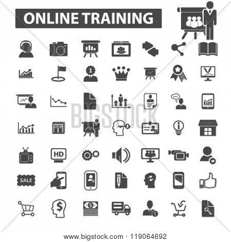 online training icons, online training logo, online education icons vector, online education flat illustration concept, online education logo, online education symbols set,