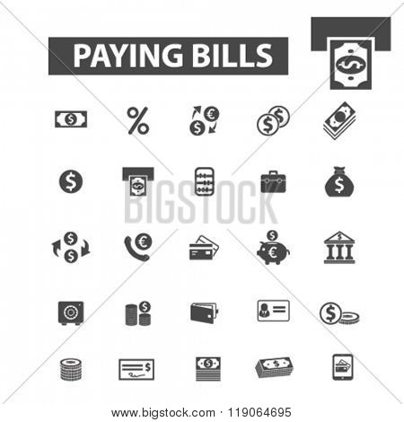 paying bills icons, paying bills logo, paying icons vector, paying flat illustration concept, paying infographics elements isolated on white background, paying logo, paying symbols set, payment