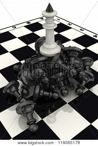 The victory of the white chess pieces