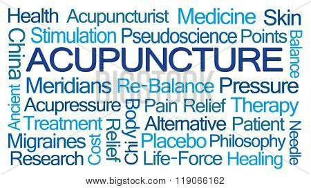 Acupuncture Word Cloud on White Background poster