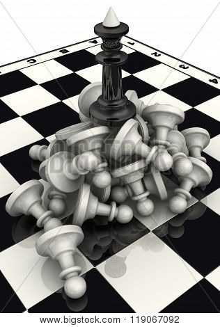 The victory of the black chess pieces