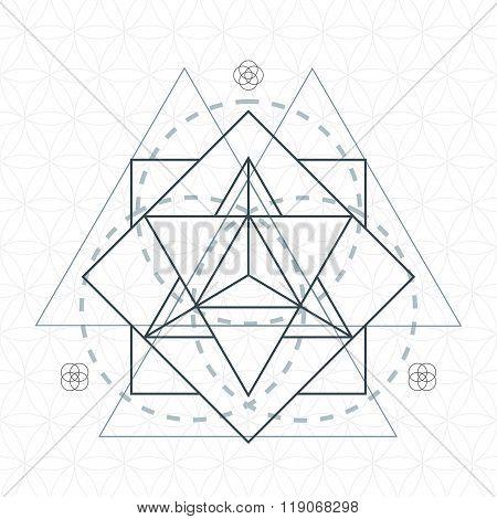 Merkaba Outline Flower Of Life Sacred Geometry.