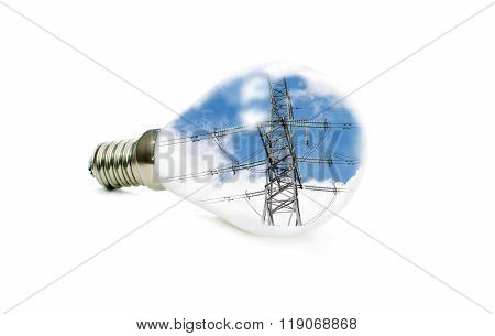 Led Lamp With A Picture Of Power Lines Inside