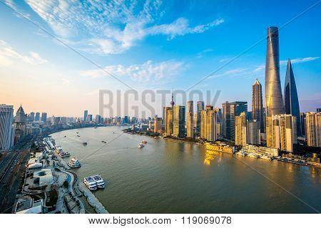 Shanghai Pudong Skyline Sunset, China