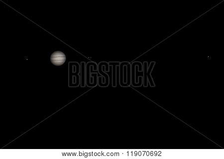 Real picture of Jupiter with satellites Europa, Io, Ganymede, Callisto with telescope and DSLR