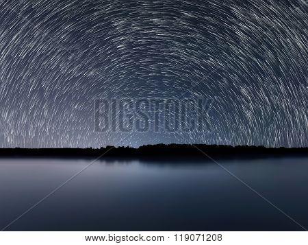 Star Trails, Beautiful Blue Night reflection