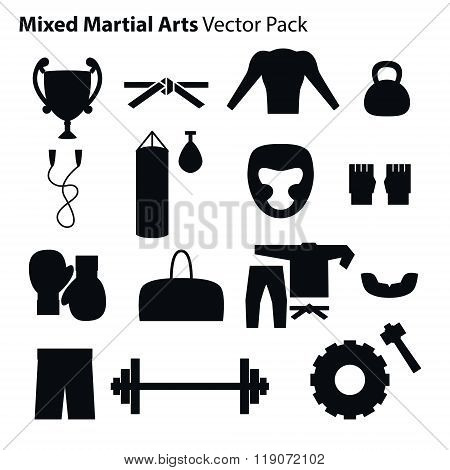 Mix Martial Arts Icons Set.