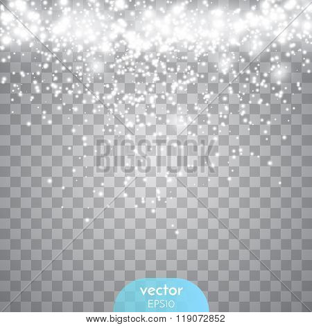Abstract Transparent Sparkle Glow Light Effect. Fray Christmas Light White Design.