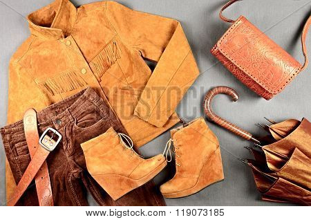 Women's Brown Clothing And Accessories Set