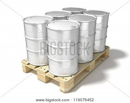 White oil barrels on wooden euro pallet. 3D
