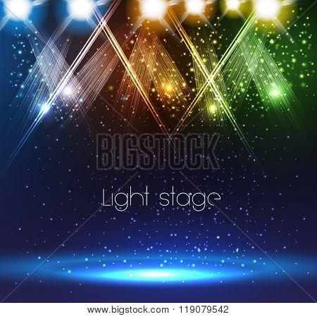 Spotlights on stage easy editable