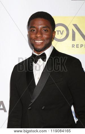 LOS ANGELES - FEB 5:  Chadwick Boseman at the 47TH NAACP Image Awards Press Room at the Pasadena Civic Auditorium on February 5, 2016 in Pasadena, CA