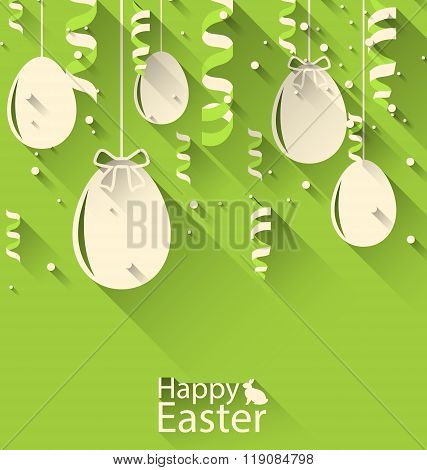 Happy Easter Green Background with Eggs and Serpentine