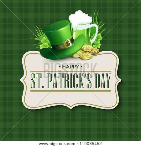 St. Patricks Day vintage holiday badge design. Vector illustration