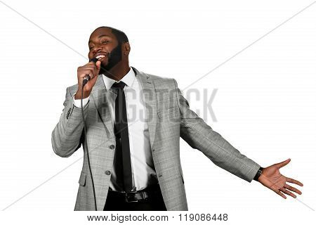 Black man singing