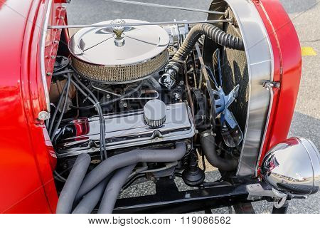 Gorgeous amzing view of  classic retro vintage hot rod car engine