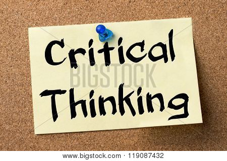 Critical Thinking - Adhesive Label Pinned On Bulletin Board