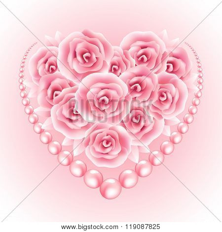 Pink roses, pearl and heart shap frame. Vector illustration