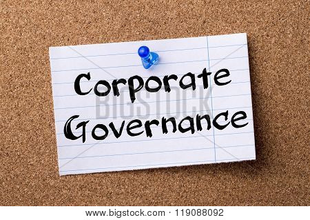 Corporate Governance - Teared Note Paper Pinned On Bulletin Board