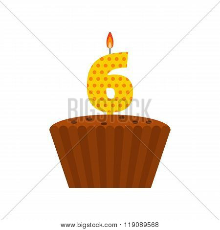 Vector Chocolate Biscuit Birthday Cake With A Candle Number 6 In Flat Style