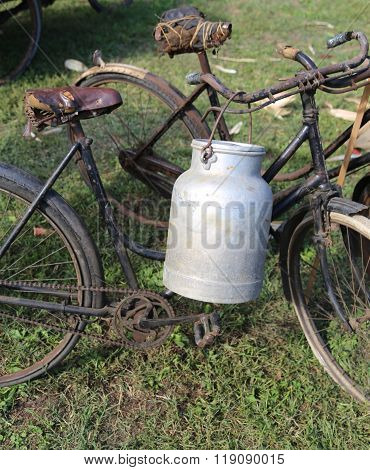 Two Ancient Rusty Bicycles For The Transport Of Milk I