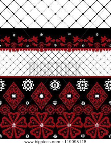 Red And Black Seamless Lace Pattern With Fishnet On White