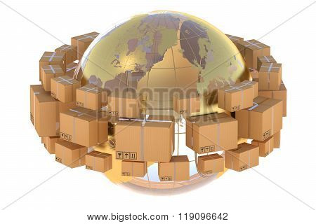 Global Logistics, Shipping And Worldwide Delivery Business Concept