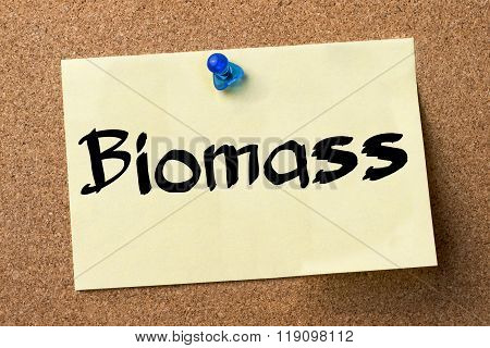 Biomass - Adhesive Label Pinned On Bulletin Board