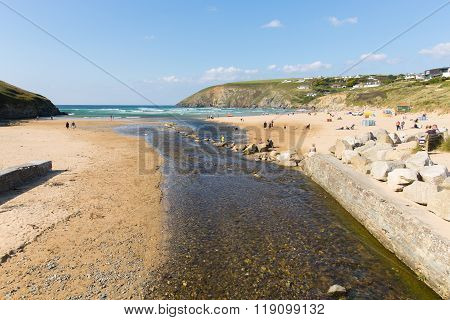 Beautiful late summer sun and fine weather people at the beach Mawgan Porth, North Cornwall