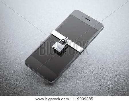 Modern smartphone with silver lock.