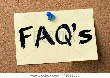 Faq's - Adhesive Label Pinned On Bulletin Board