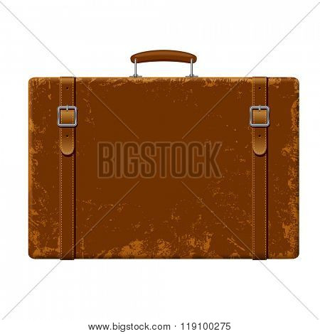 Vintage brown threadbare suitcase with straps and buckles isolated on white