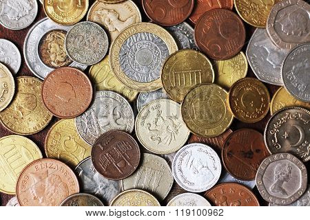Picture Full Of Metal Coins From Different Countrie