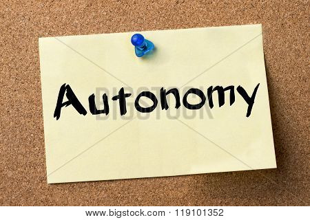 Autonomy - Adhesive Label Pinned On Bulletin Board
