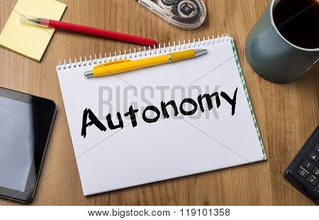 Autonomy - Note Pad With Text
