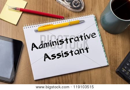 Administrative Assistant - Note Pad With Text