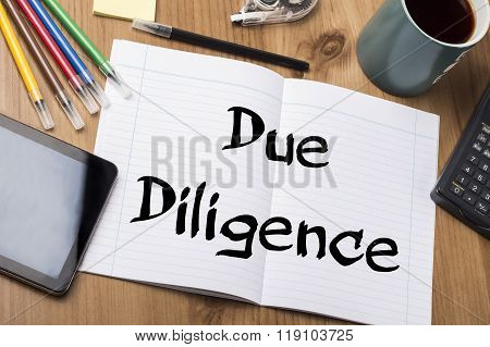 Due Diligence - Note Pad With Text