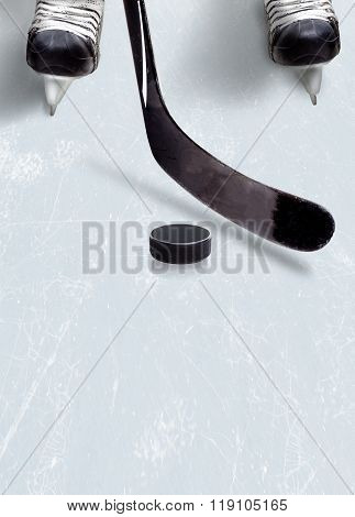 Ice Hockey Stick And Puck On Ice With Copy Space.