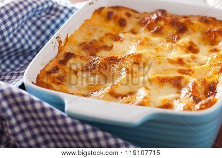 homemade italian lasagna in baking dish