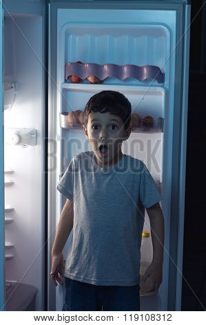 Child Surprised At Night To Sneak In A Refrigerator