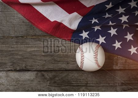 Baseball With American Flag In The Background
