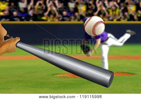 Baseball Swing With Pitcher And Spectator Background