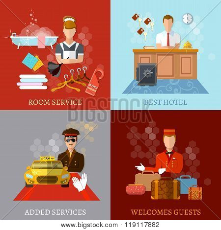 Hotel Service Set Reception Reservation Cleaning Concierge Taxi Driver