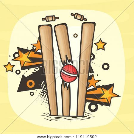 Red Ball hit the Wicket Stumps on abstract background for Cricket Sports concept.