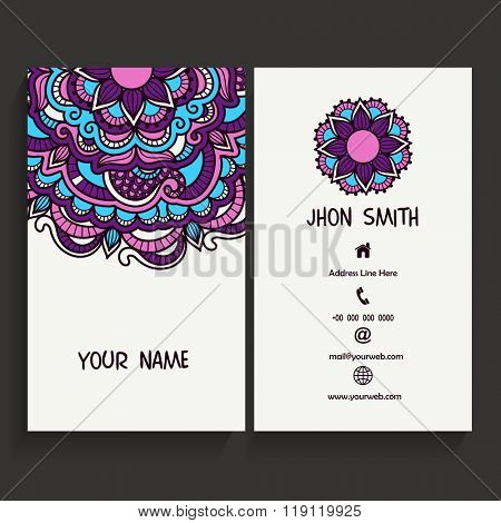 Creative floral design decorated, Professional Vertical Business Card, Name Card or Visiting Card set.