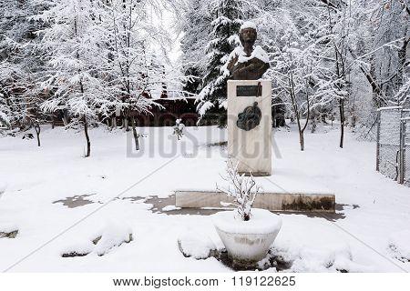 VATRA DORNEI, ROMANIA - FEBRUARY 2016: Statue of Mihai Eminescu on 04th of February in Vatra Dornei