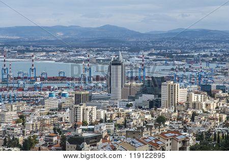 Haifa, Israel - January 2, 2016 :  View of Haifa bay and Haifa port