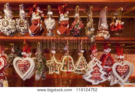 Detail Of A Christmas Market Stand