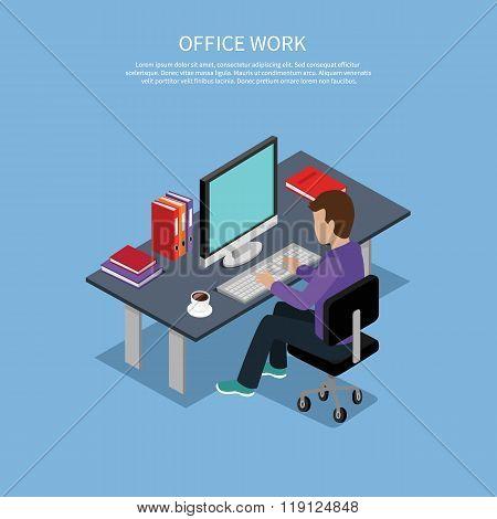 Isometric Man Office Work Interior Design