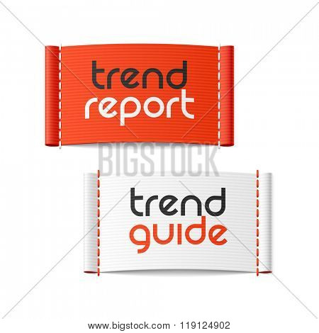 Trend Report and Trend Guide clothing labels. Vector